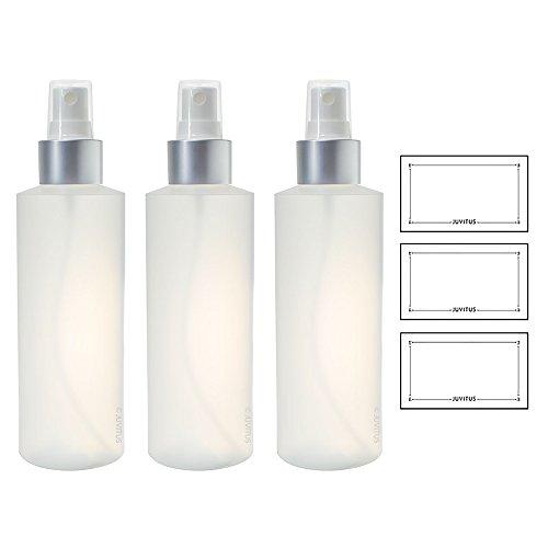 Clear Natural Refillable Plastic Squeeze Bottle with Silver Fine Mist Sprayer - 6 oz (3 Pack) + Labels Toner 6 Oz Bottle