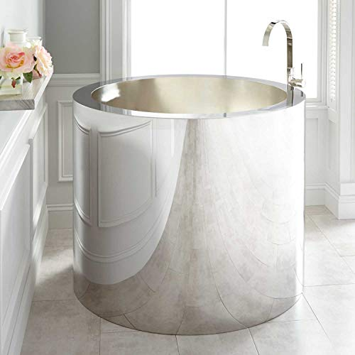 "Signature Hardware 271350 Simone 43"" Stainless Steel Japanese Soaking Tub with Brushed Interior"