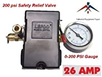26 AMP H/D PRESSURE SWITCH AIR COMPRESSOR 145-175 4 PORT w/ 0-200 psi Gauge & 200 psi Pop off valve