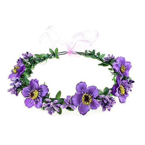 June Bloomy Rose Floral Crown Wreath Girls Flower Headband Boho Garland Halo Headpiece (Daisy Purple)