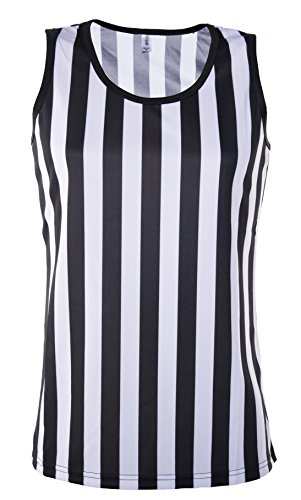 Referee Tank Top for Women | Referee Uniform Top for Waitresses, Costumes, More,Black/White,Medium -