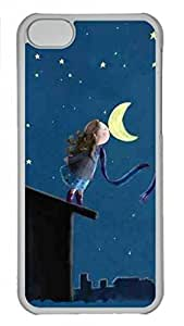 Transparent Hard Plastic Case for iPhone 5C,Kiss the Moon Case Back Cover for iPhone 5C by icecream design