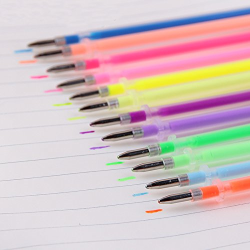 48 X Gel Color Pens Refills, YONGER Gel Ink Glitter Pens Refills Art Markers Fine Tip Pen Refills Kit for Kid Coloring Books Drawing 0.1mm by Yonger (Image #1)