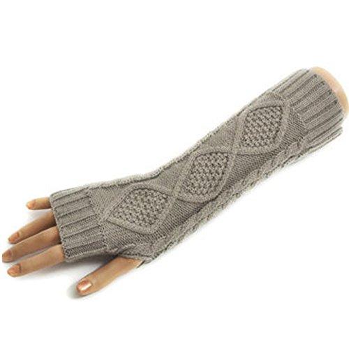 Butterme Frau Lady Gestricktes Wolle lange Fingerless Handschuhe dehnbar Armlinge Knitting Patterns Daumenloch Hellgrau