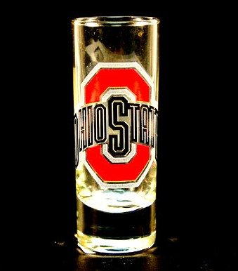 NCAA Licensed Cordial Logo Hype Glass Shot Glass (2 Oz.) School Logo on 2 Oz. Glass Shot Glass (Ohio State Buckeyes)