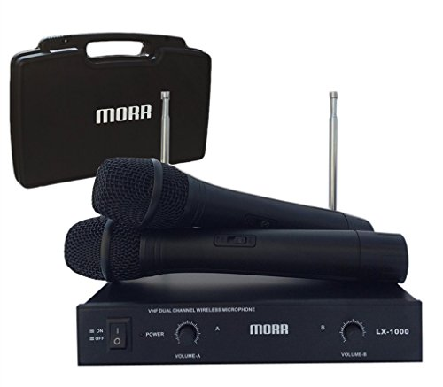 Professional Dual Channel VHF Handheld Wireless Microphone System - Morr Audio (Dual Channel Vhf Handheld Microphone)
