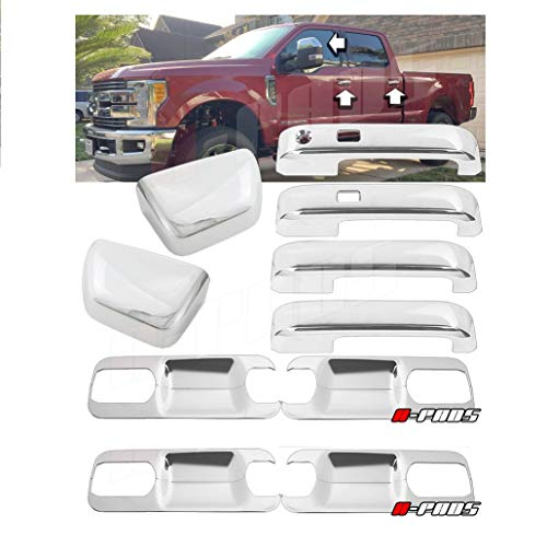 - A-PADS Chrome Cover for 2017-2018 Ford F250 F350 F450 Top Half Mirror + 4 Door Handles with Smart Keyhole + Back Plate