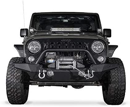 JROAD Compatible with Front Bumper Jeep Wrangler 07-18 JK JKU Sahara Rubicon Sports 2//4-door 2xLED Fog Lights Built-in Winch Plate Stubby Blade Heavy Steel Grille Guard Tube