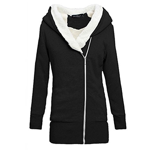 Renee Ander Simple Overcoat Fleece Coat Zip Up Outerwear Hooded Sweatshirts Long Jacket Parka black XXL
