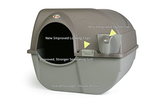 (Omega Paw NRA15-1 Improved Roll 'n Clean Self Cleaning Litter Box, Regular, Pewter)