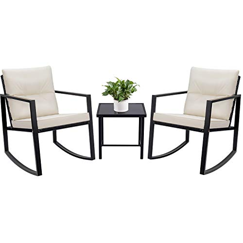 Devoko 3 Piece Bistro Sets Wicker Patio Outdoor Rocking Chairs Front Deck Porch Furniture with Glass Coffee Table (Black) (Best Front Porch Rockers)