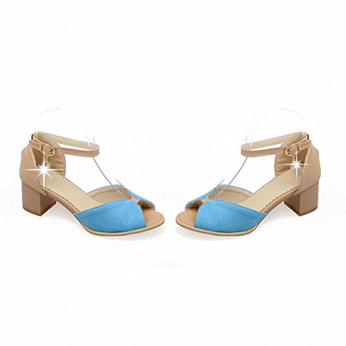 Carol Shoes Fashion Womens Ankle-strap Buckle Rhinestone Assorted Color Pendant Chunky Mid Heel Sandals Blue M74lmb4