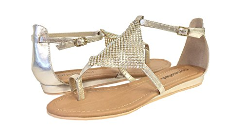 By Klassifisert Kvinners Alease Diamant Foran Patch Thong Flate Sandaler I Metallic Lys Gull