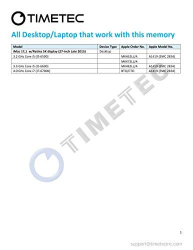 Timetec Hynix IC Apple 16GB Kit (2x8GB) DDR3 PC3-14900 1866MHz for iMac 17,1  w/Retina 5K display (27-inch Late 2015) A1419 (EMC 2834) MK462LL/A, MK472LL/A, MK482LL/A (16GB Kit (2x8GB)) by Timetec (Image #1)'