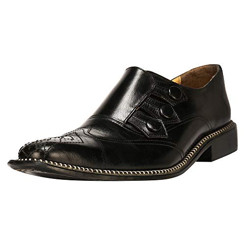 Liberty Men's Genuine Leather Triple Monk Strap Loafers Wing Tip Dress Shoes