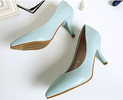 Aisun Mujeres Sexy Comfy Puntiagudo Slip On Dress Kitten Talones Bombas Zapatos Azul