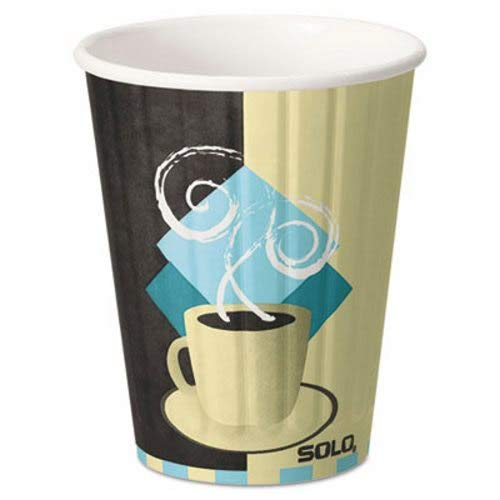 Duo Shield Insulated Paper Hot Cups/Lids Combo Pack, 12oz, -