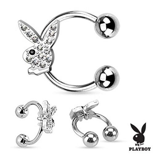 Gem Paved Playboy Bunny Horseshoe Freedom Fashion 316L Surgical Steel