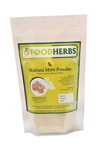 FoodHerbs Multani Mitti Powder (200 gms/0.44 lbs) pure, Fuller's Earth for glowing skin