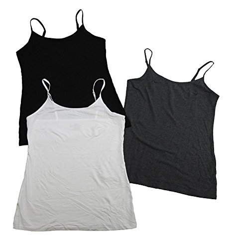 Felina Women's 3 Pack Cotton Stretch Camisole, Black/White/Gray Large  (Felina Cotton Camisole)
