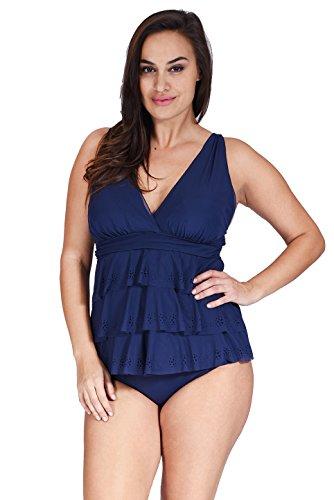 6038bb0d6bed8 (1MZ7200) Mazu Swim Women s Ruffle Mesh Swimwear Triple Tier Plus Size  Tankini Top (18W-24W) in Lasercut Navy Size  22W