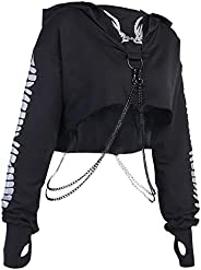 DYNWAVE Womens Gothic Chain Strap Hooded Crop Tops Black Hoodie Pullover Sweatshirt with Reflective Printed -