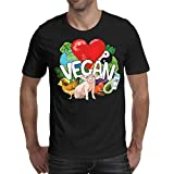 Black T-Shirts Vegan Vegetables Heart Pig Adult Pure Custom Activities