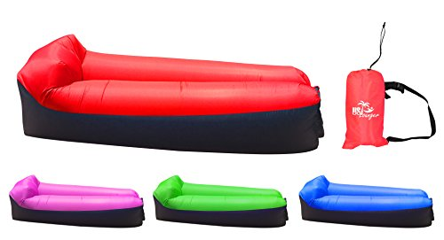 US Lounger Deluxe Red & Black Fast Inflatable Portable Outdoor or Indoor Wind Bed Lounger, Air Bag Sofa, Air Sleeping Sofa Couch, Lazy Bed for Camping, Beach, Park, ()