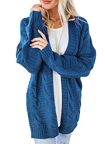 Cabled Sweater Coat - VINCINEY Women's Open Front Chunky Cable Knit Long Sleeve Knitwear Cardigan Sweaters Outerwear XXL Blue