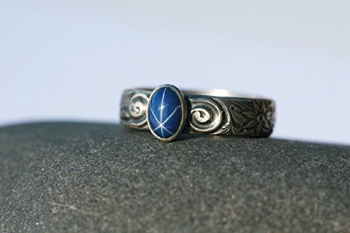 Pewter Finish Star (Small Oval Created Blue Star Sapphire and Sterling Silver Ring on Floral Band in Antique Finish)