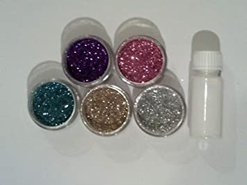 5 X Body Art Glitter Jars 5 Grams Different Colours 1 Pot Prosaide Body Art Glue 14 Ml Silver Gold Pink Purple Green Amazon Co Uk Toys Games