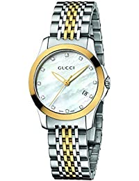 Womens YA126513 Gucci timeless Steel and Yellow PVD White Dial Watch