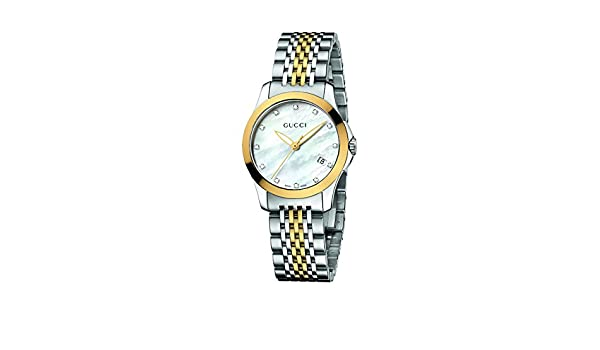 47d9272e02d Amazon.com  Gucci Women s YA126513 Gucci timeless Steel and Yellow PVD  White Dial Watch  Gucci  Watches