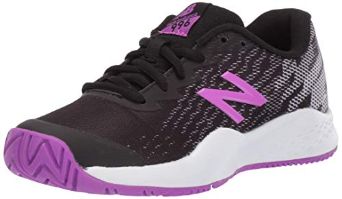 New Balance Boys' Kid's 996v3 Hard Court Tennis Shoe, Black/Voltage Violet, 6.5 M US Big