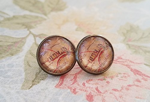 Old vintage England Dublin map Stud Earring ,Halloween,Cool gift idea ()