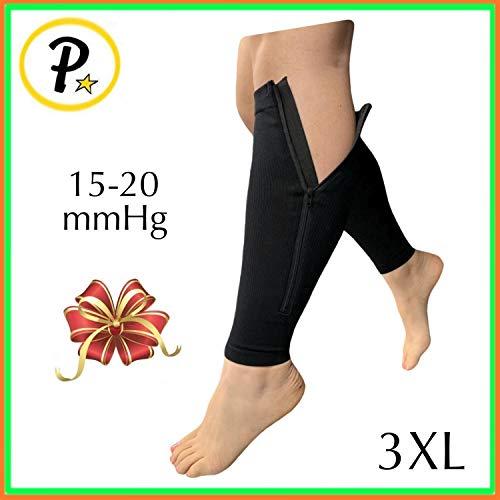 Presadee Calf Zip 15-20 mmHg Compression Sleeve with Zipper Plus Size Leg Swelling Shin Extra Wide Calves Circulation Fatigue Knee Length Support (Black, 3XL)