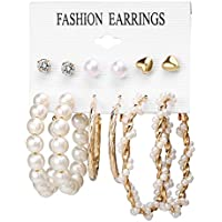 Jewels Galaxy Stylish Pearl & AD Multi Designs Stunning 6 Pair of Earrings For Women/Girls