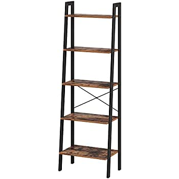 VASAGLE Industrial Bookshelf, 5-Tier Ladder Shelf, Bookcase and Storage Rack, Wood Look Accent Furniture with Metal Frame, for Home Office, Rustic Brown ULLS45X