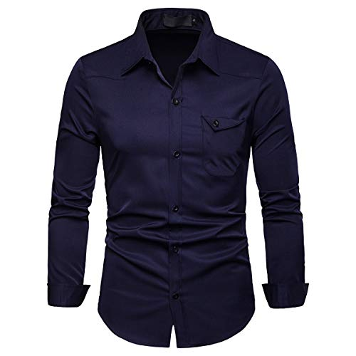 Cloudstyle Mens Casual Regular Fit Long Sleeve Formal Solid Button Down Dress Shirt from Cloudstyle