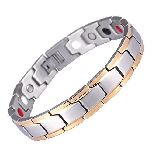 Hottime Stainless Steel Magnetic Therapy Bracelet Pain Relief for Arthritis and Carpal Tunnel