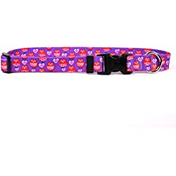 """Yellow Dog Design Valentines Owls Dog Collar with Tag-A-Long ID Tag System-Small-3/4 and fits Neck 10 to 14"""""""