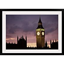 """GreatBIGCanvas """"Big Ben Palace of Westminster London UK"""" Photographic Print with Black Frame, 36"""" x 24"""""""