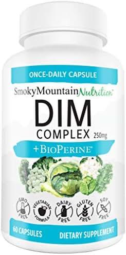 DIM Supplement 250mg Plus BioPerine, Sulforaphane, Dong Quai, Vitamin D, Organic Alfalfa & Broccoli. Menopause, Hormone Balance, Hormonal Acne, PCOS