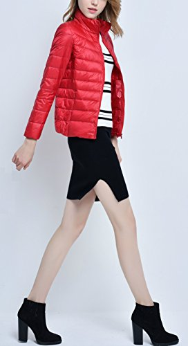 Packable Ultra Warm Women's Coat Elegant Collar Red Winter Weight Light Windproof Down Elonglin Jacket Mao Puffer xP7FxfI