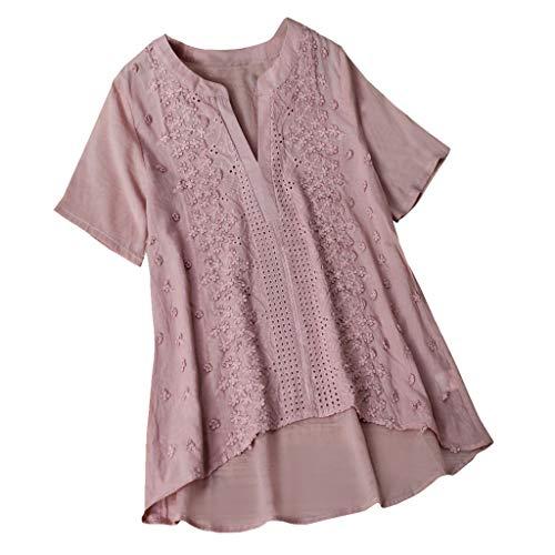 Dressin Womens T Shirt,Women Girls Vintage Embroidery Casual Short/Long Sleeve Button Linen Top T-Shirt Blouse Pink