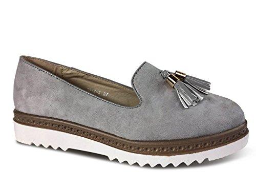 Schuhtraum Damen Slipper Plateau Sneakers Ballerinas Glitzer Nieten ST551 Grau Quaste-N