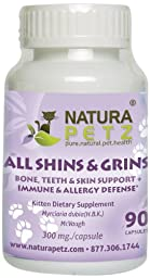 Natura Petz All Shins and Grins Bone, Teeth and Skin Support for Kittens, Immune and Allergy Defense 90 Capsules, 300mgl Per Capsule