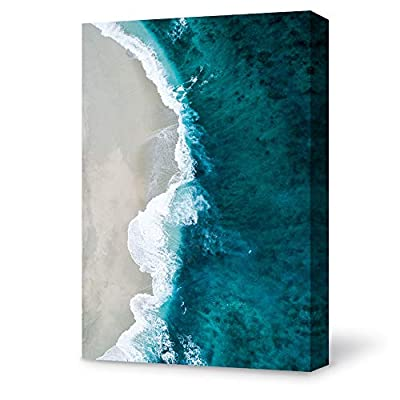 Pretty Work of Art, Original Creation, Blue Ocean and White Beach Painting Wall for Bedroom Living Room
