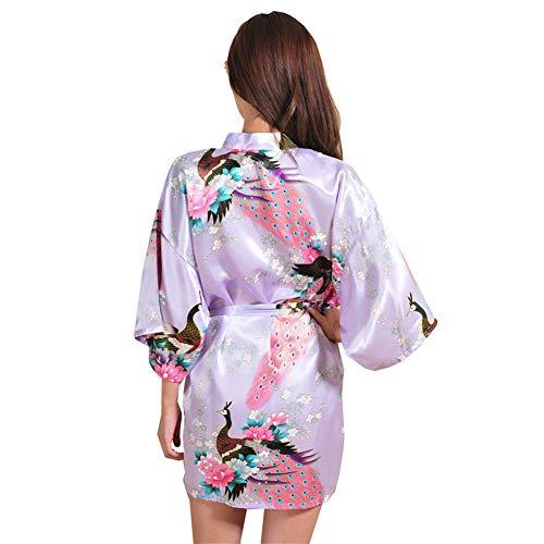 Notte Sera Raso Da Viola Damigella Kimono Scollo V A Missmaom Donna Chiaro Sposa Casual Retro Robes Vintage D'indumenti Obliquo Corto In Abito 8wZvqcZ5R