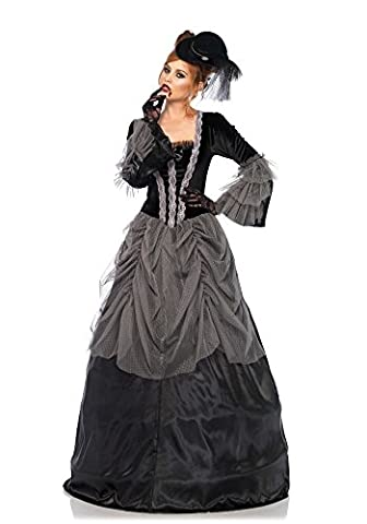 Victorian Ball Gown Costume, Black/Grey, Medium - Cerniera Vittoriana
